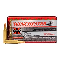 Winchester varmint & small game 17 hmr, 20 grain
