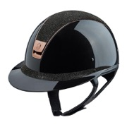 Samshield Miss Shield Shadowmatt ridehjelm med top og frontbånd i Crystal Fabric samt Rosegold